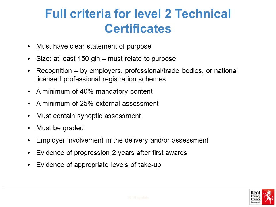 Full criteria for level 2 Technical Certificates