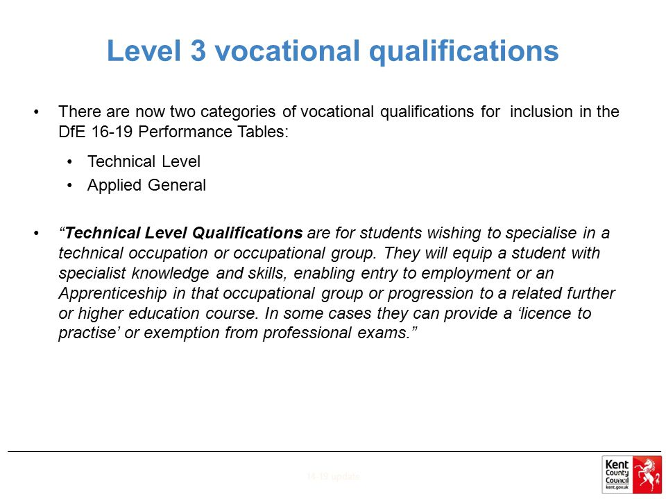 Level 3 vocational qualifications