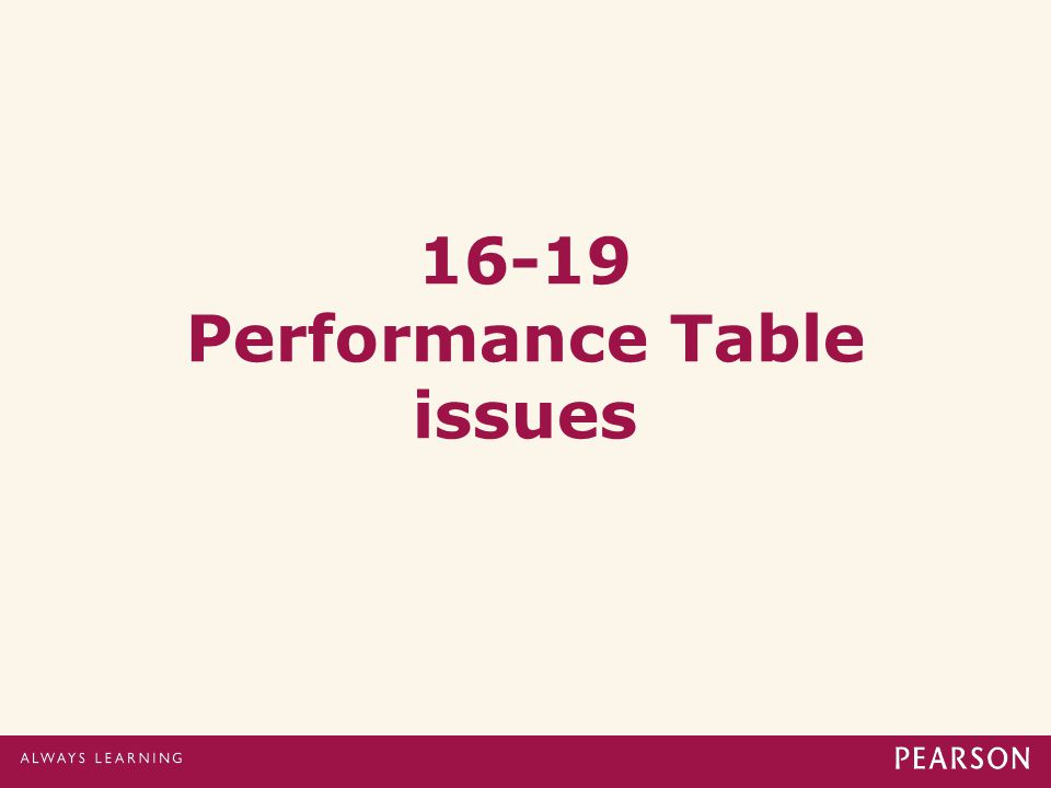 16-19 Performance Table issues