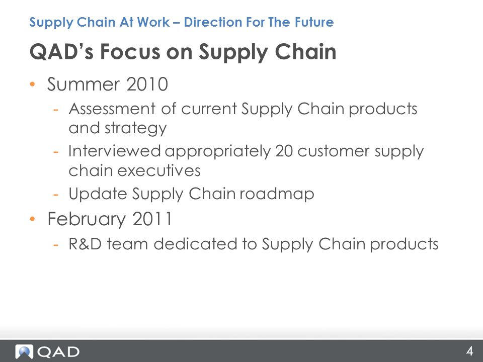 QAD's Focus on Supply Chain