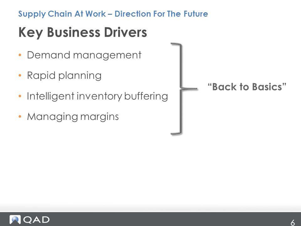 Key Business Drivers Demand management Rapid planning