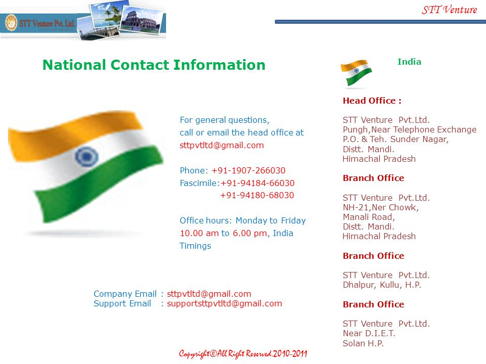 National Contact Information India Head Office :