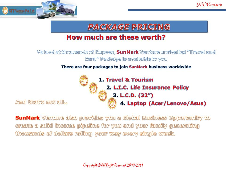 PACKAGE PRICING How much are these worth 1. Travel & Tourism