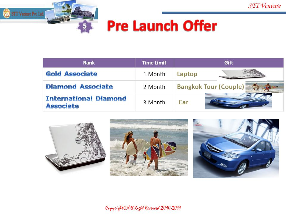 Pre Launch Offer 5 Laptop Bangkok Tour (Couple) Car Gold Associate