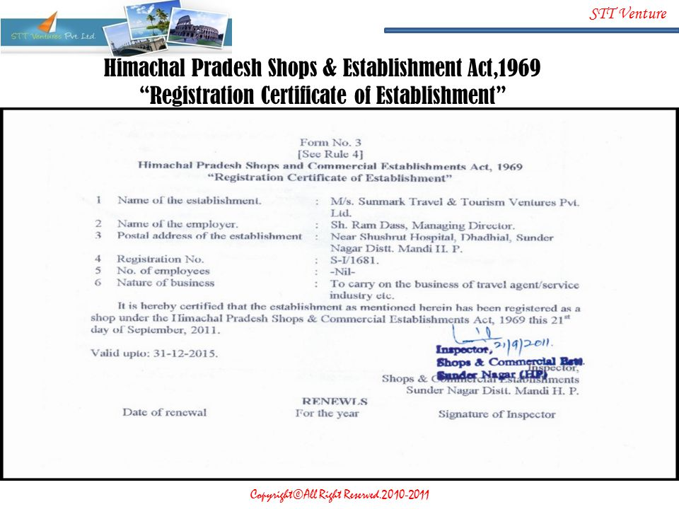Himachal Pradesh Shops & Establishment Act,1969 Registration Certificate of Establishment