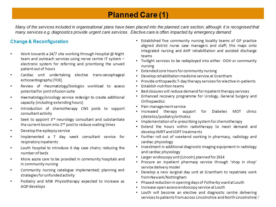 Planned Care (1) Change & Reconfiguration