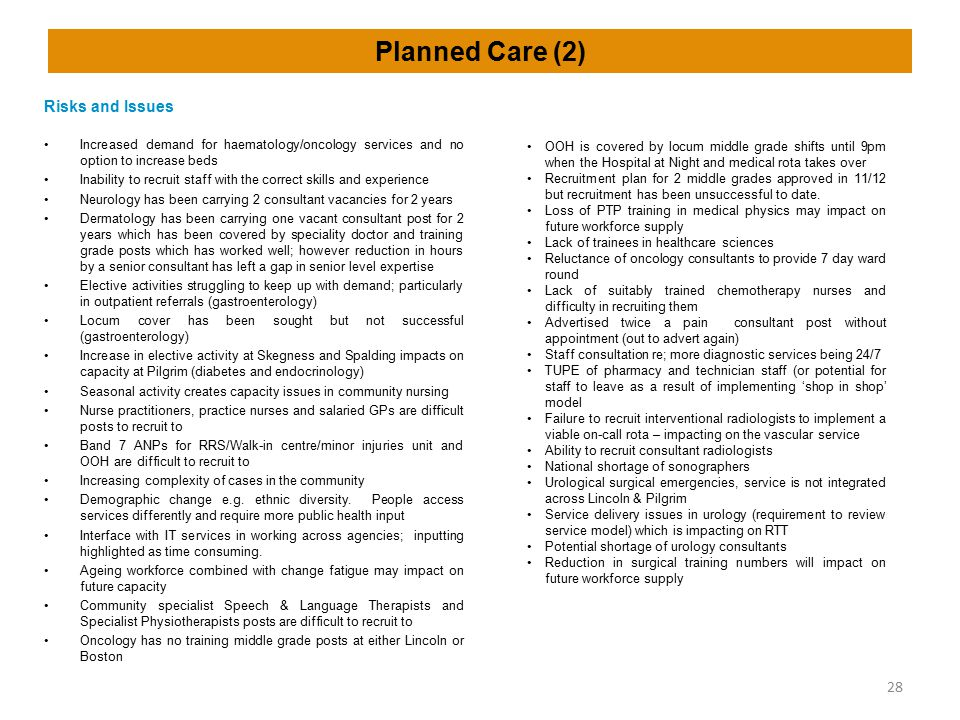 Planned Care (2) Risks and Issues