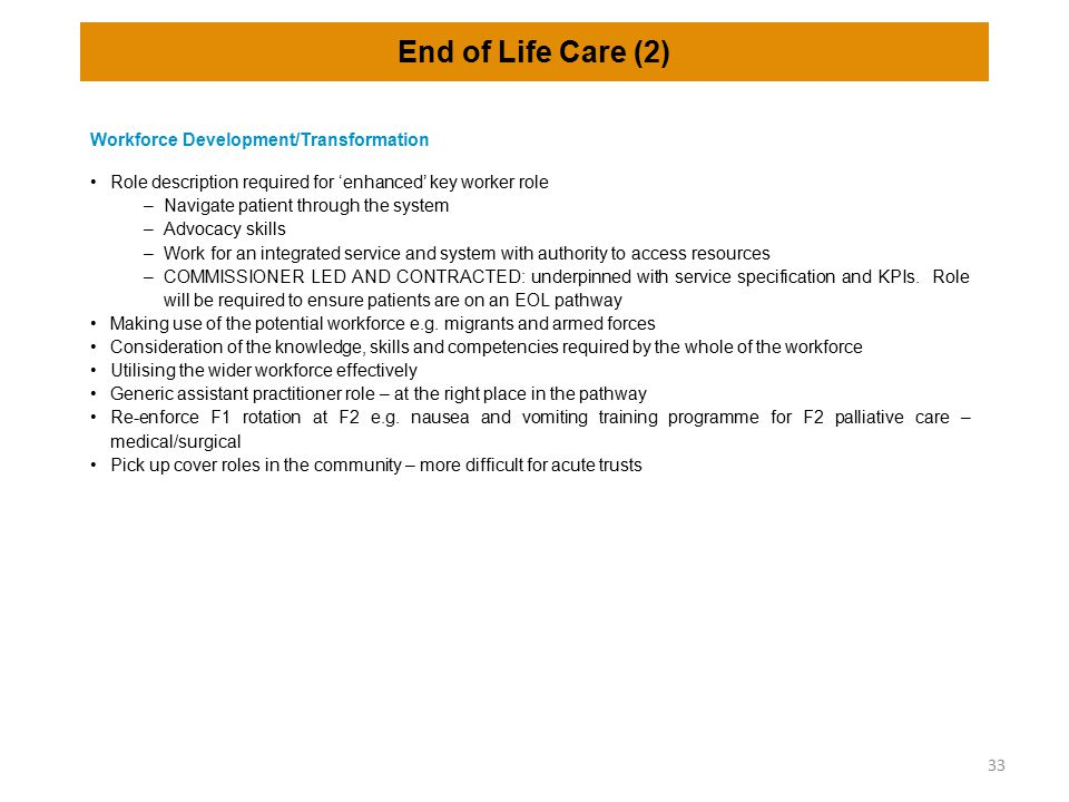End of Life Care (2) Workforce Development/Transformation