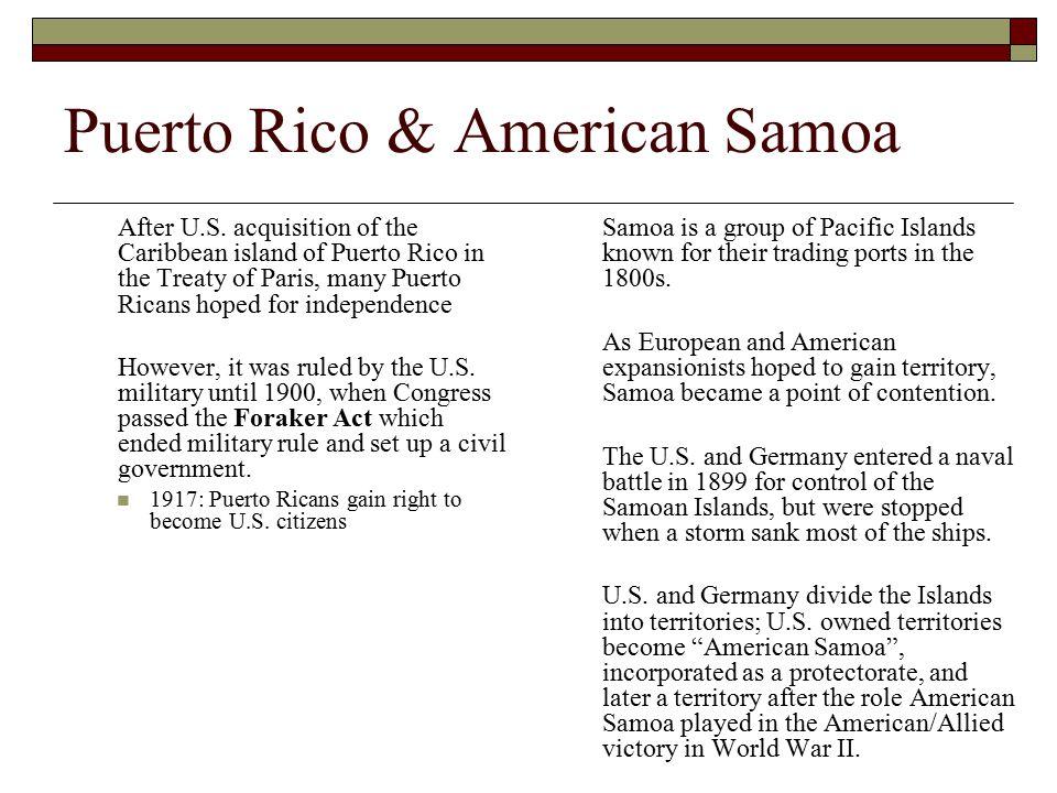 Puerto Rico & American Samoa