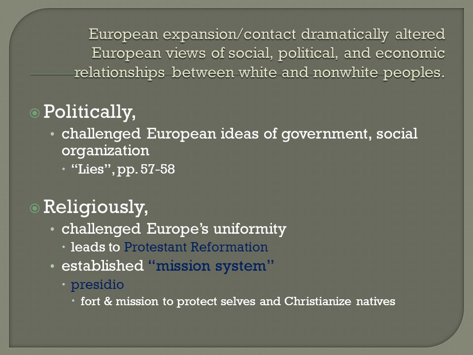 Politically, Religiously,