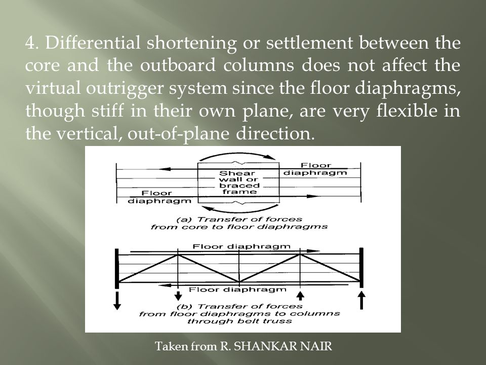 4. Differential shortening or settlement between the core and the outboard columns does not affect the virtual outrigger system since the floor diaphragms, though stiff in their own plane, are very flexible in the vertical, out-of-plane direction.