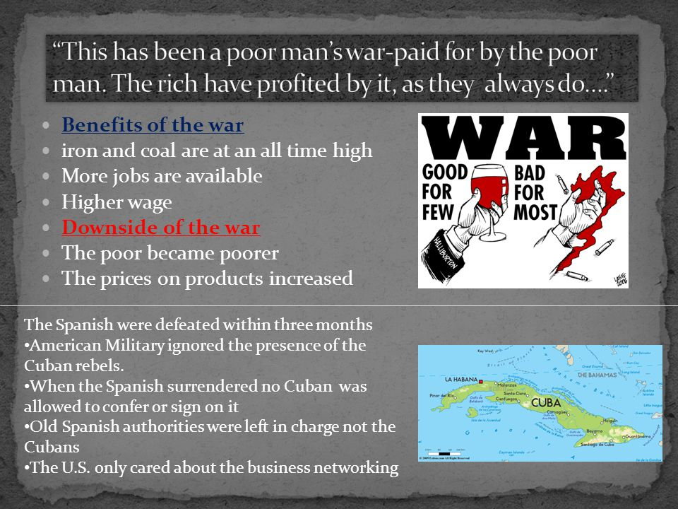 This has been a poor man's war-paid for by the poor man