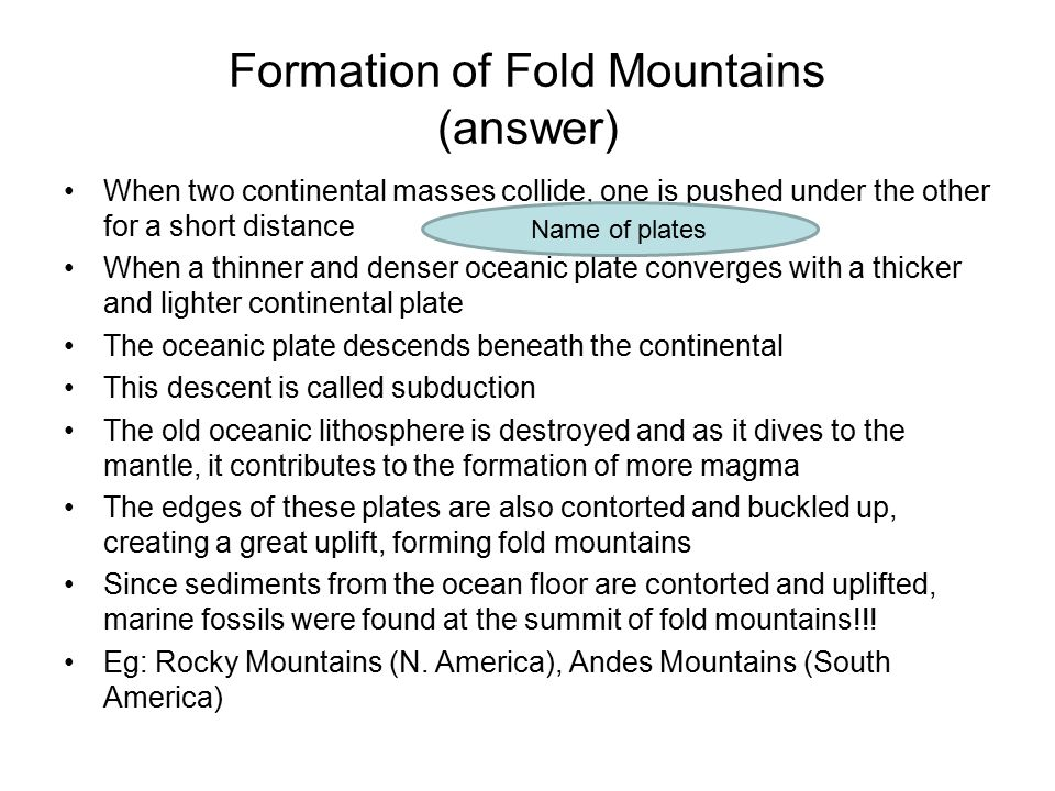 Formation of Fold Mountains (answer)