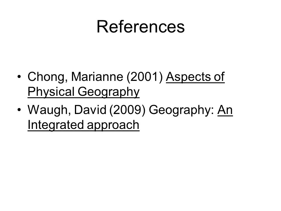 References Chong, Marianne (2001) Aspects of Physical Geography