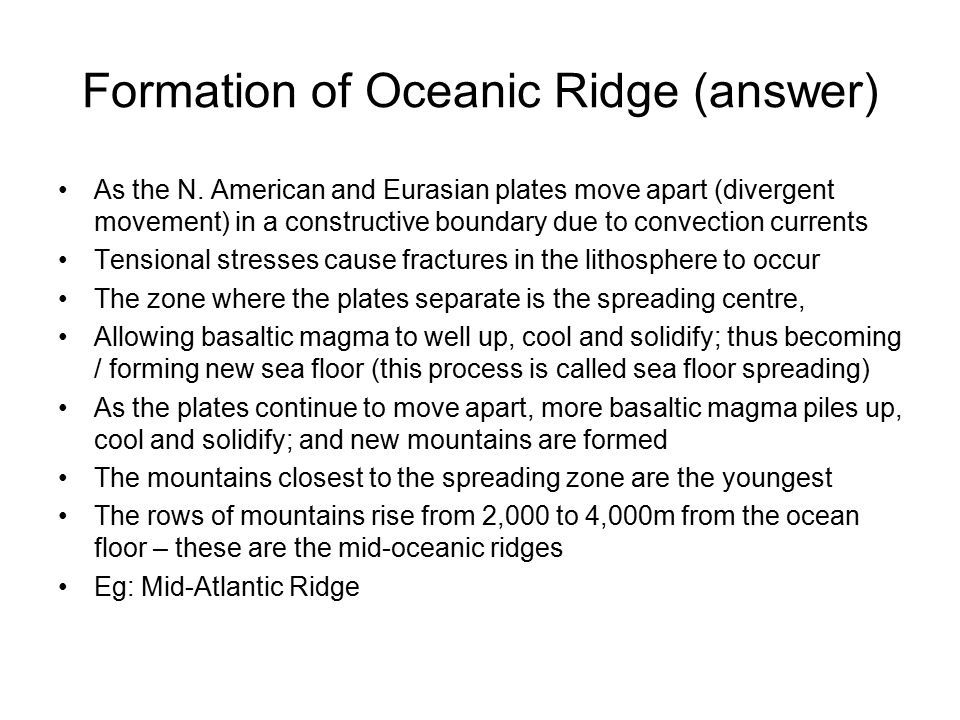 Formation of Oceanic Ridge (answer)