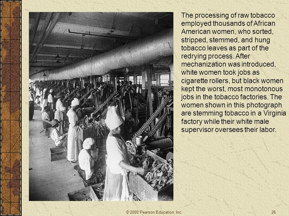 The processing of raw tobacco employed thousands of African American women, who sorted, stripped, stemmed, and hung tobacco leaves as part of the redrying process. After mechanization was introduced, white women took jobs as cigarette rollers, but black women kept the worst, most monotonous jobs in the tobacco factories. The women shown in this photograph are stemming tobacco in a Virginia factory while their white male supervisor oversees their labor.