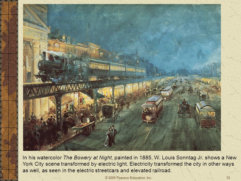 In his watercolor The Bowery at Night, painted in 1885, W