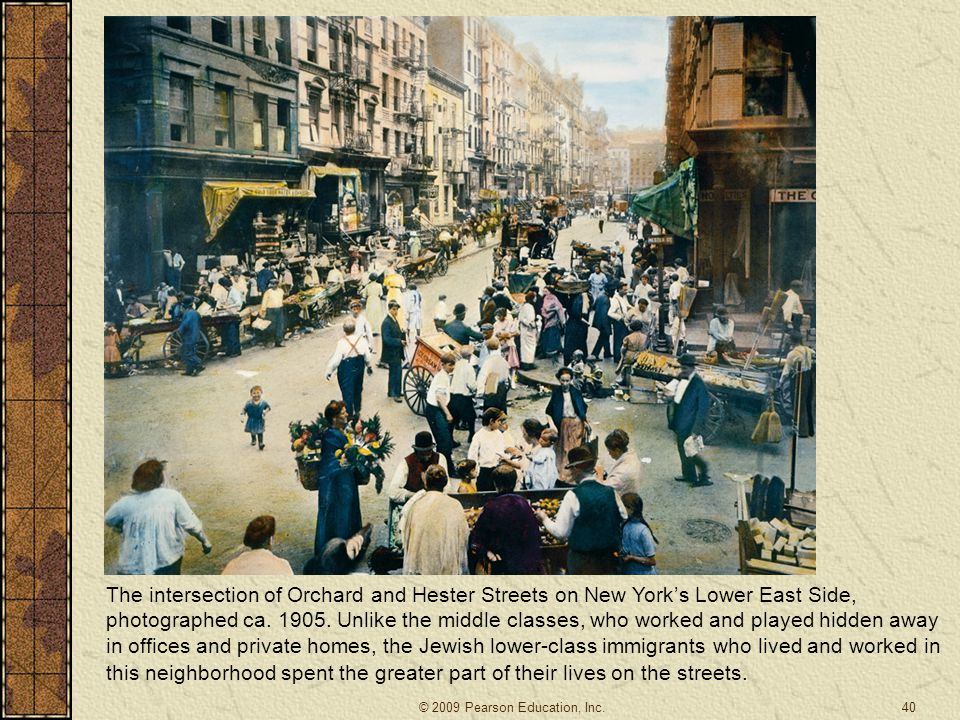 The intersection of Orchard and Hester Streets on New York's Lower East Side, photographed ca. 1905. Unlike the middle classes, who worked and played hidden away in offices and private homes, the Jewish lower-class immigrants who lived and worked in this neighborhood spent the greater part of their lives on the streets.