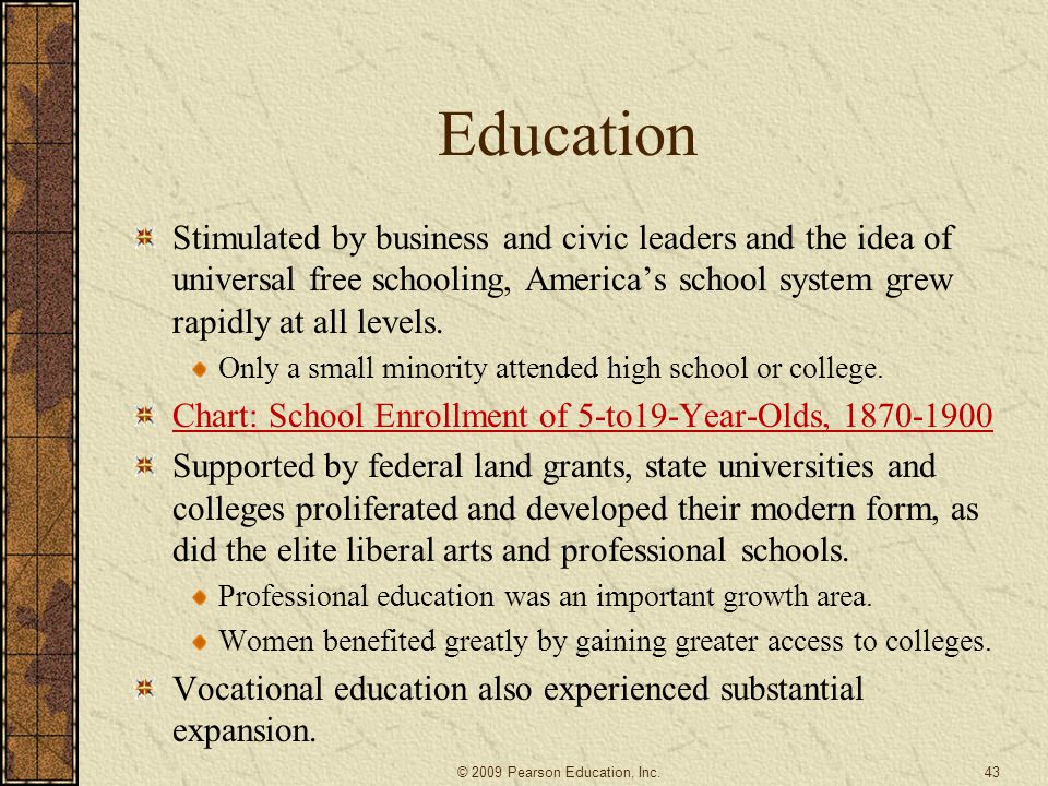Education Stimulated by business and civic leaders and the idea of universal free schooling, America's school system grew rapidly at all levels.