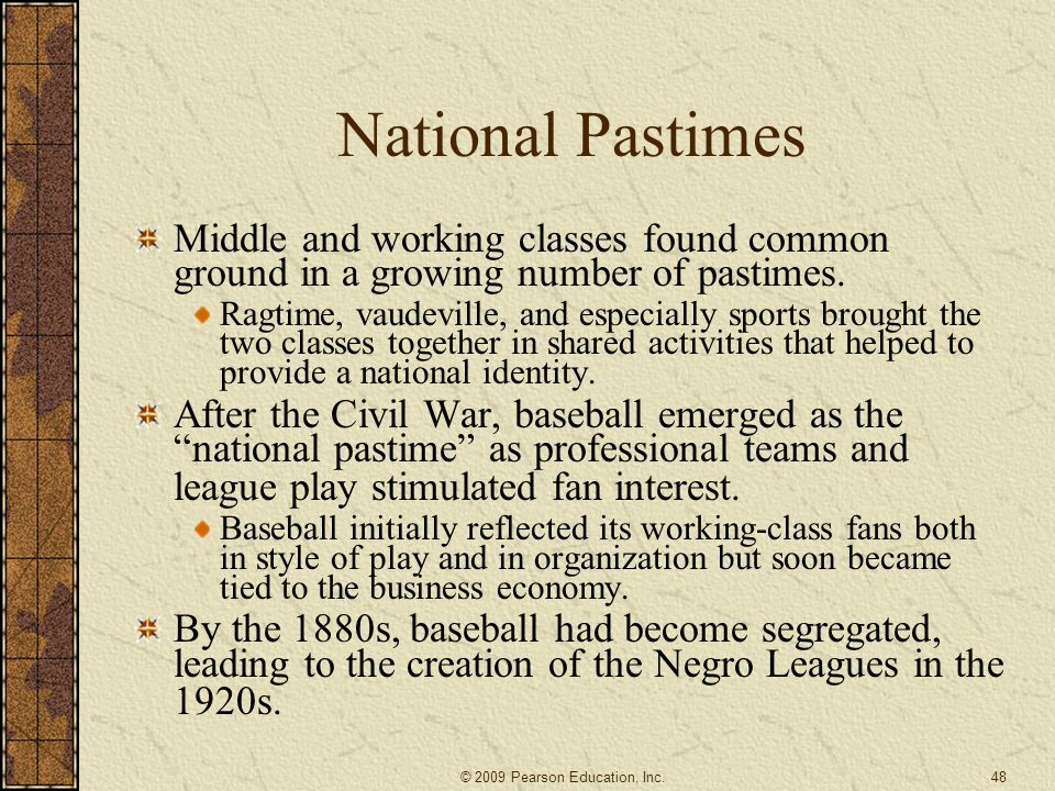 National Pastimes Middle and working classes found common ground in a growing number of pastimes.