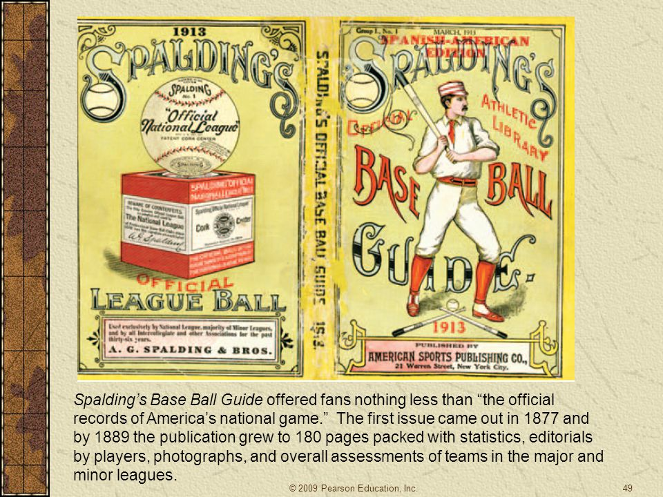 Spalding's Base Ball Guide offered fans nothing less than the official records of America's national game. The first issue came out in 1877 and by 1889 the publication grew to 180 pages packed with statistics, editorials by players, photographs, and overall assessments of teams in the major and minor leagues.