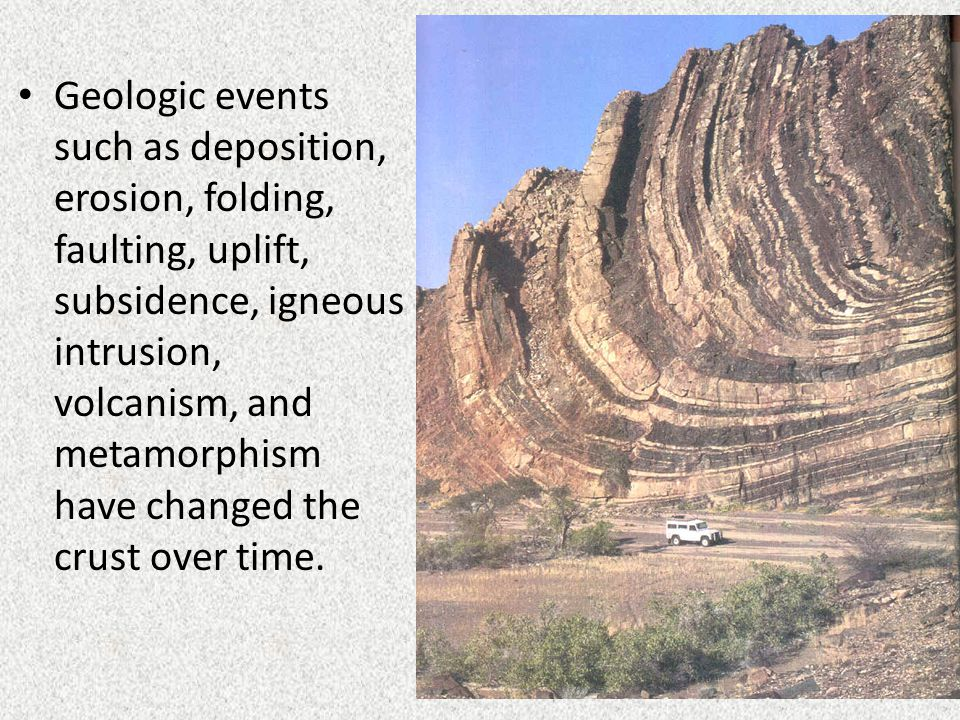 Geologic events such as deposition, erosion, folding, faulting, uplift, subsidence, igneous intrusion, volcanism, and metamorphism have changed the crust over time.