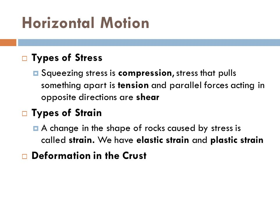 Horizontal Motion Types of Stress Types of Strain