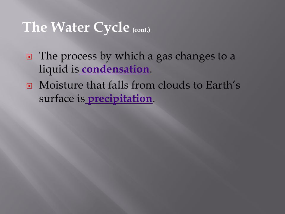 The Water Cycle (cont.) The process by which a gas changes to a liquid is condensation.