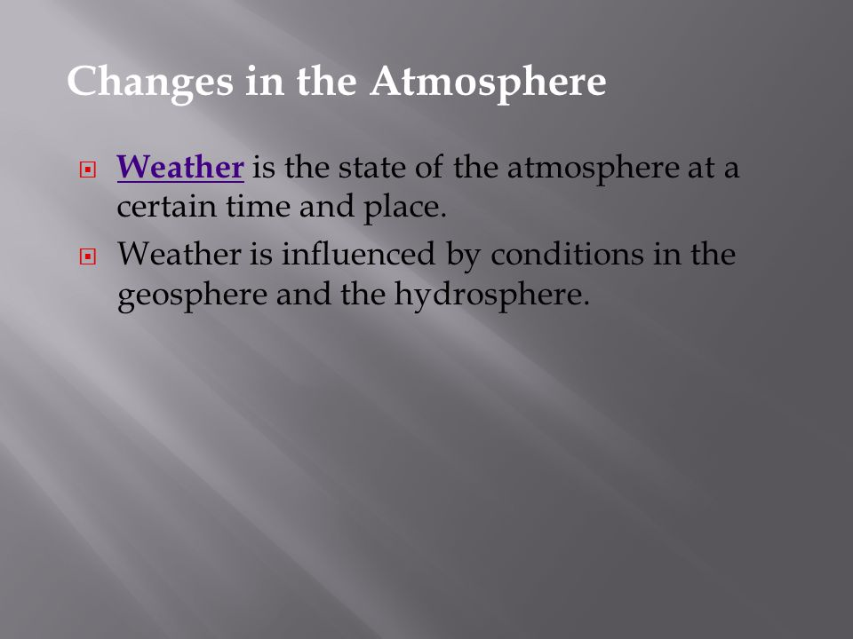 Changes in the Atmosphere