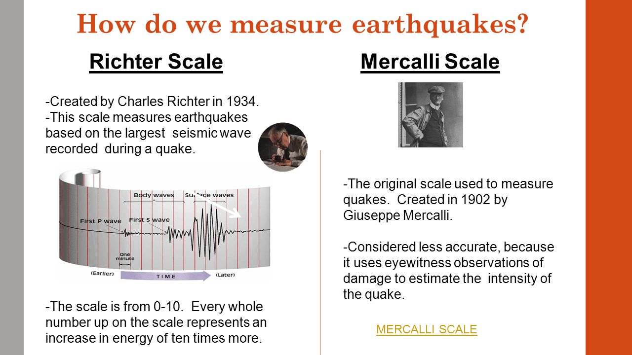 earthquakes and how we measure their Inspired by the scale of magnitudes used by astronomers to determine the  apparent  an earthquake measured by a seismometer  help came from his  colleague and mentor at caltech, beno gutenberg, who proposed.