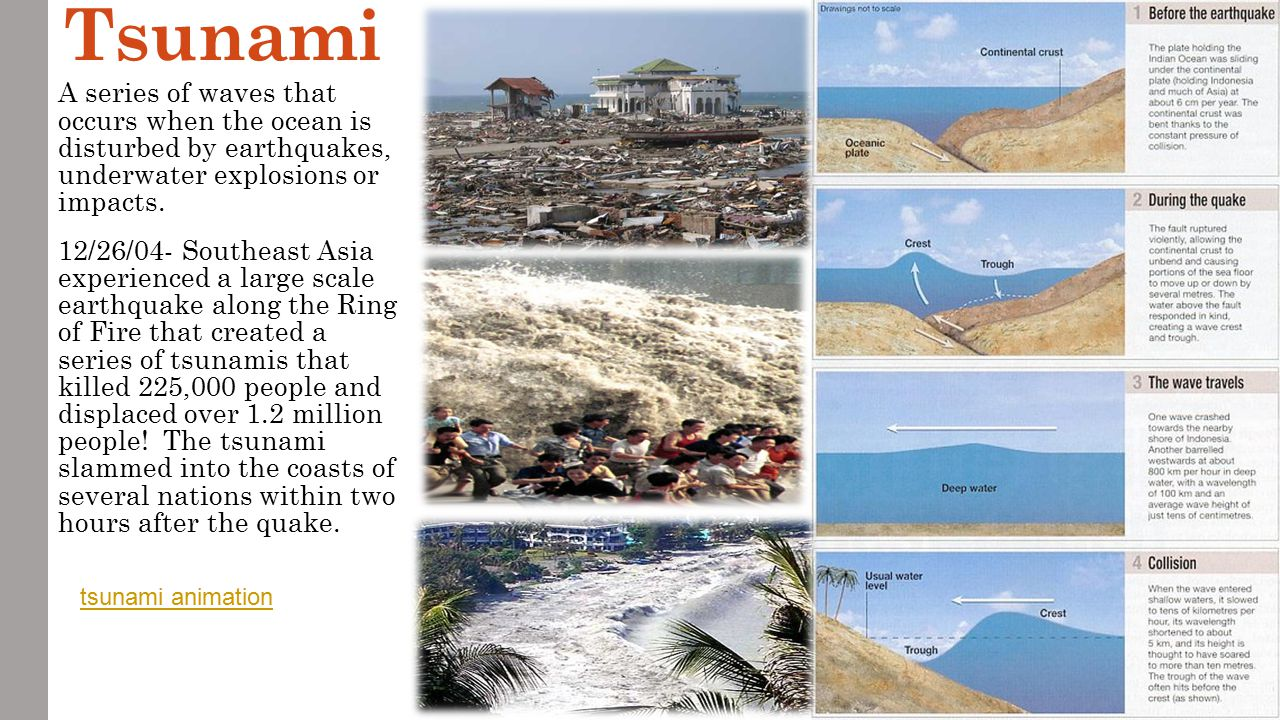 Tsunami A series of waves that occurs when the ocean is disturbed by earthquakes, underwater explosions or impacts.