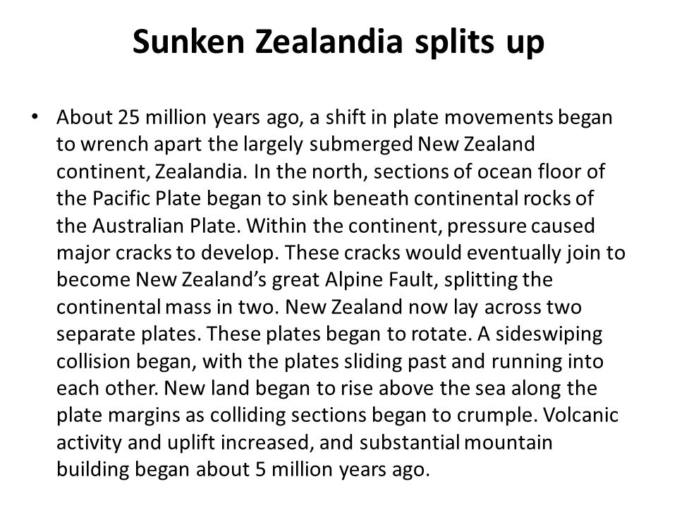 Sunken Zealandia splits up