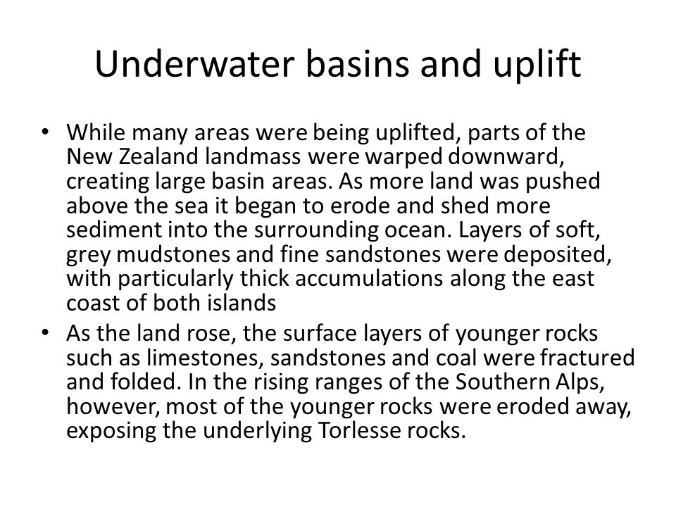Underwater basins and uplift
