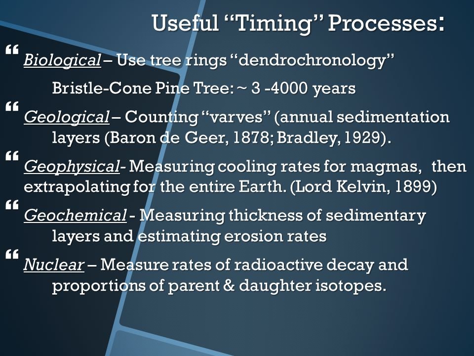 Useful Timing Processes: