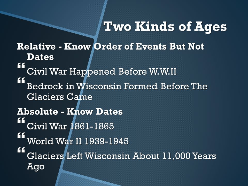 Two Kinds of Ages Relative - Know Order of Events But Not Dates