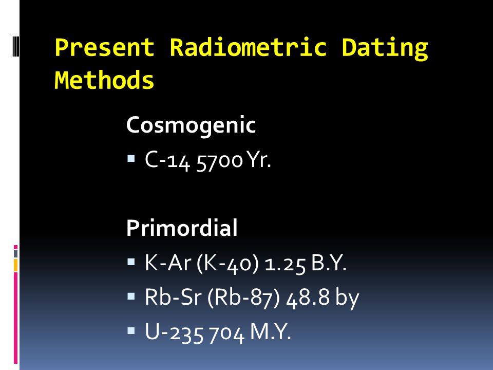 Present Radiometric Dating Methods