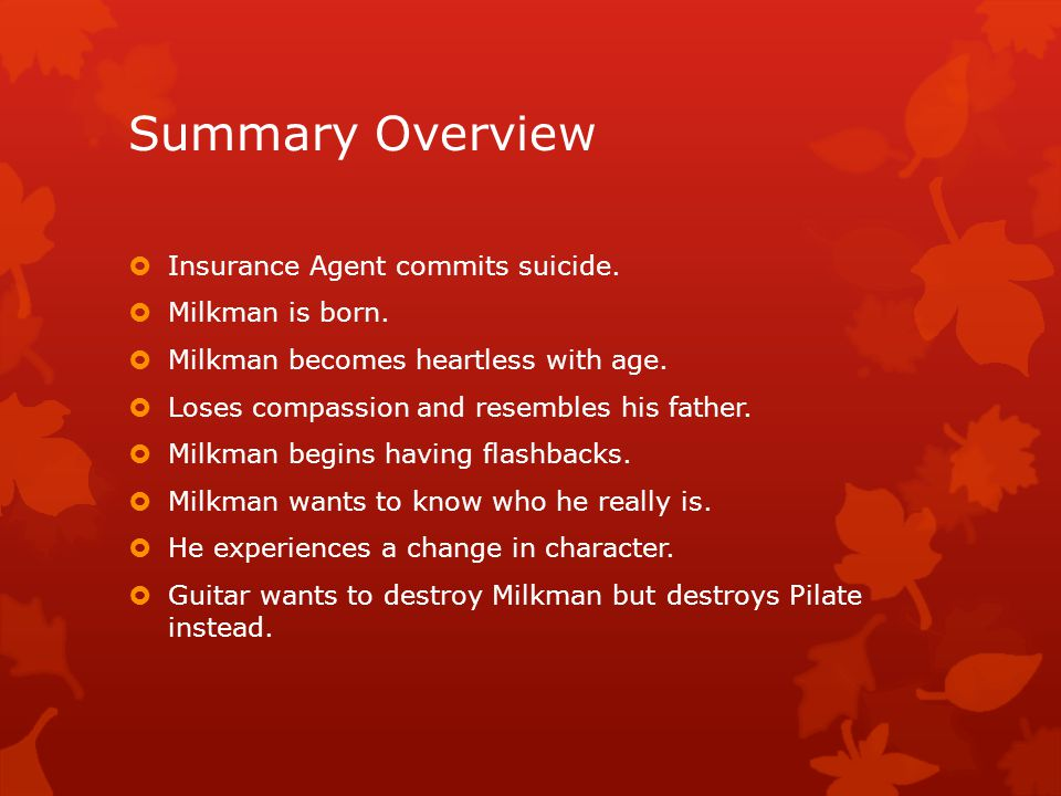 Summary Overview Insurance Agent commits suicide. Milkman is born.