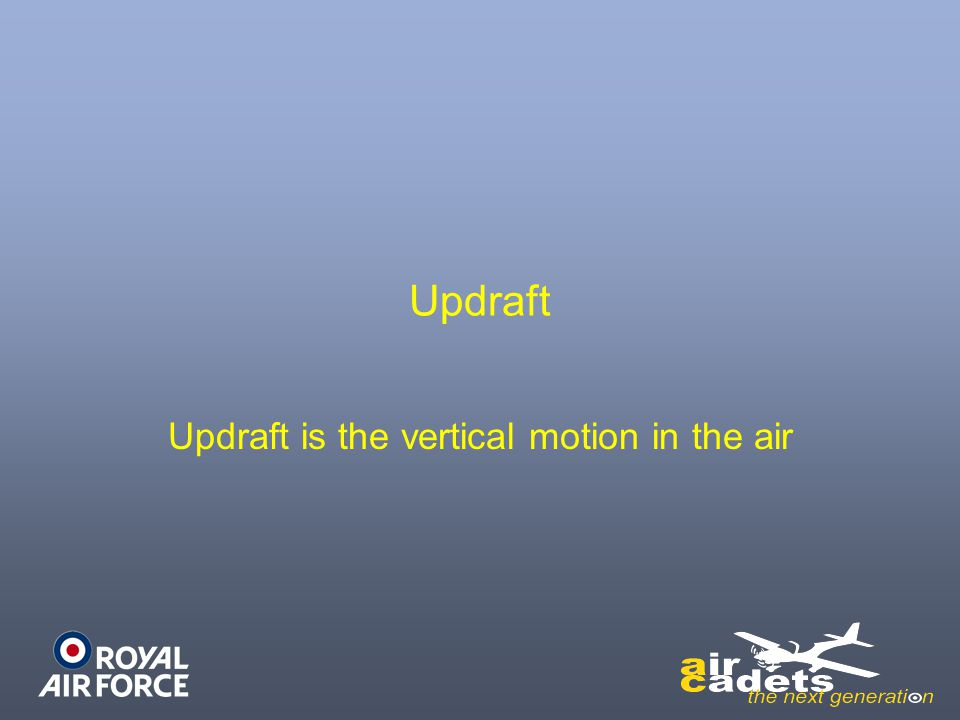 Updraft is the vertical motion in the air