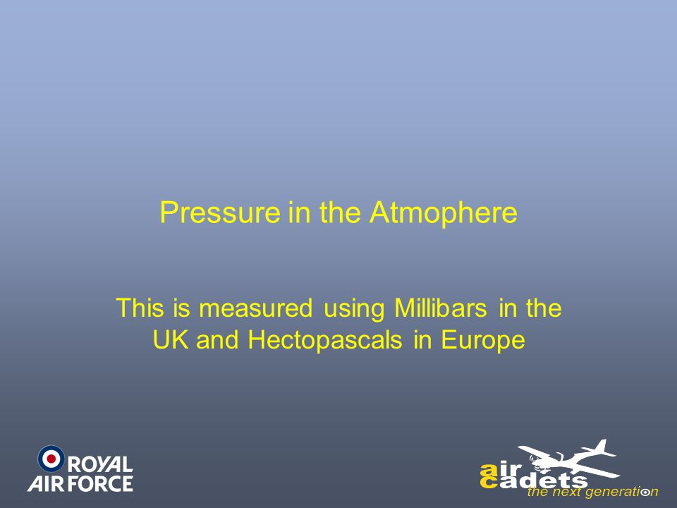 Pressure in the Atmophere
