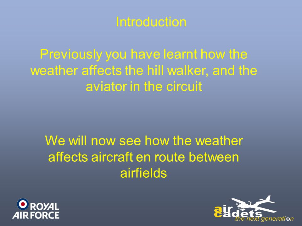 Introduction Previously you have learnt how the weather affects the hill walker, and the aviator in the circuit.