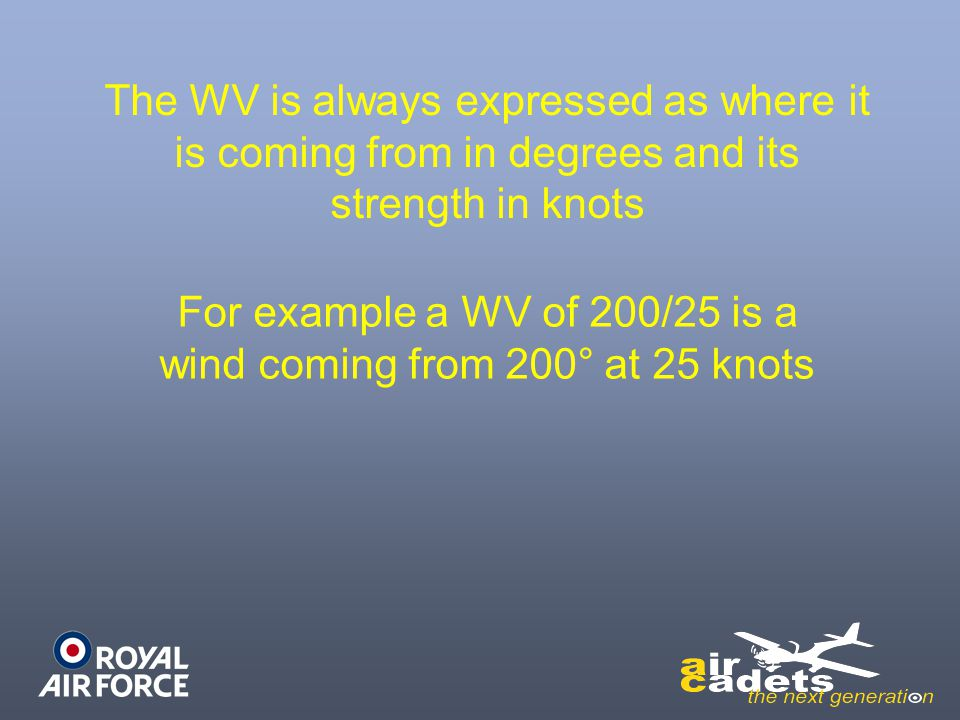 For example a WV of 200/25 is a wind coming from 200° at 25 knots
