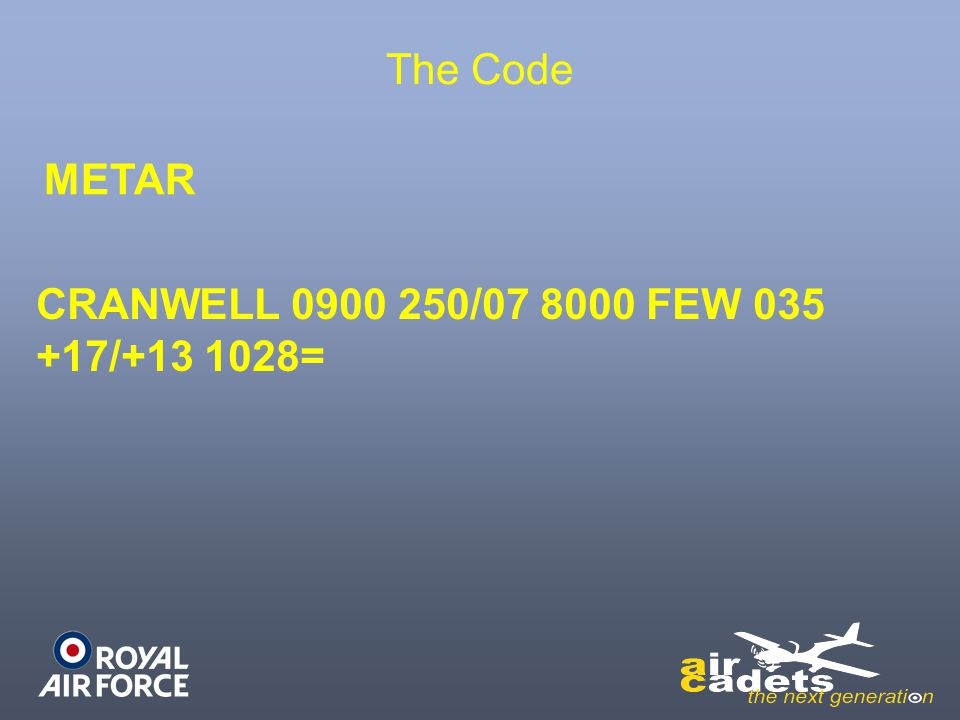 The Code METAR CRANWELL 0900 250/07 8000 FEW 035 +17/+13 1028=