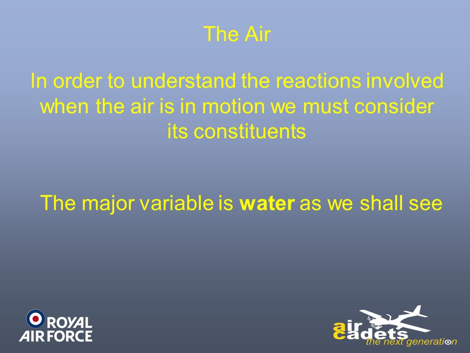 The major variable is water as we shall see