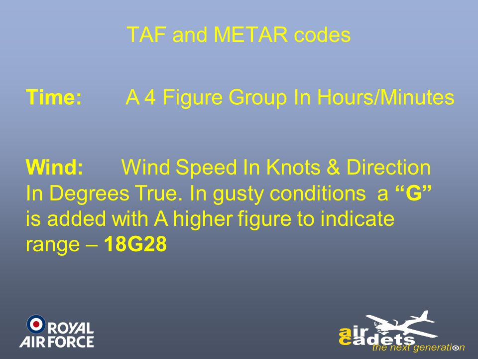 TAF and METAR codes Time: A 4 Figure Group In Hours/Minutes.