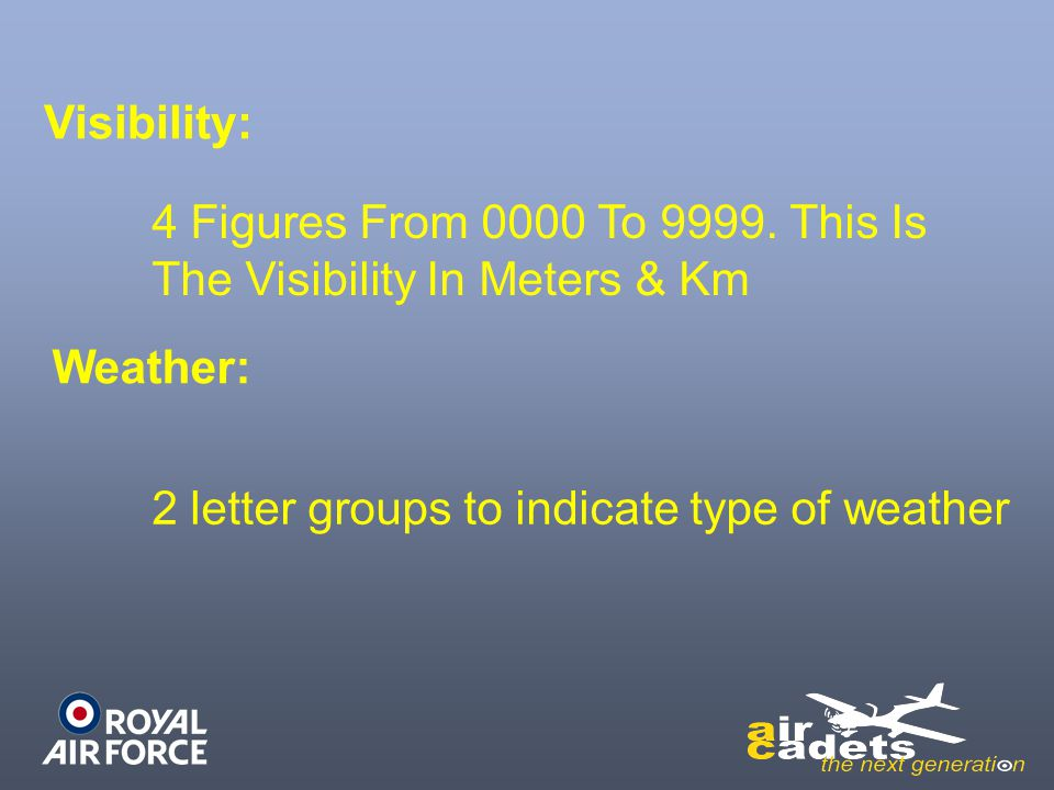 Visibility: 4 Figures From 0000 To 9999. This Is The Visibility In Meters & Km.