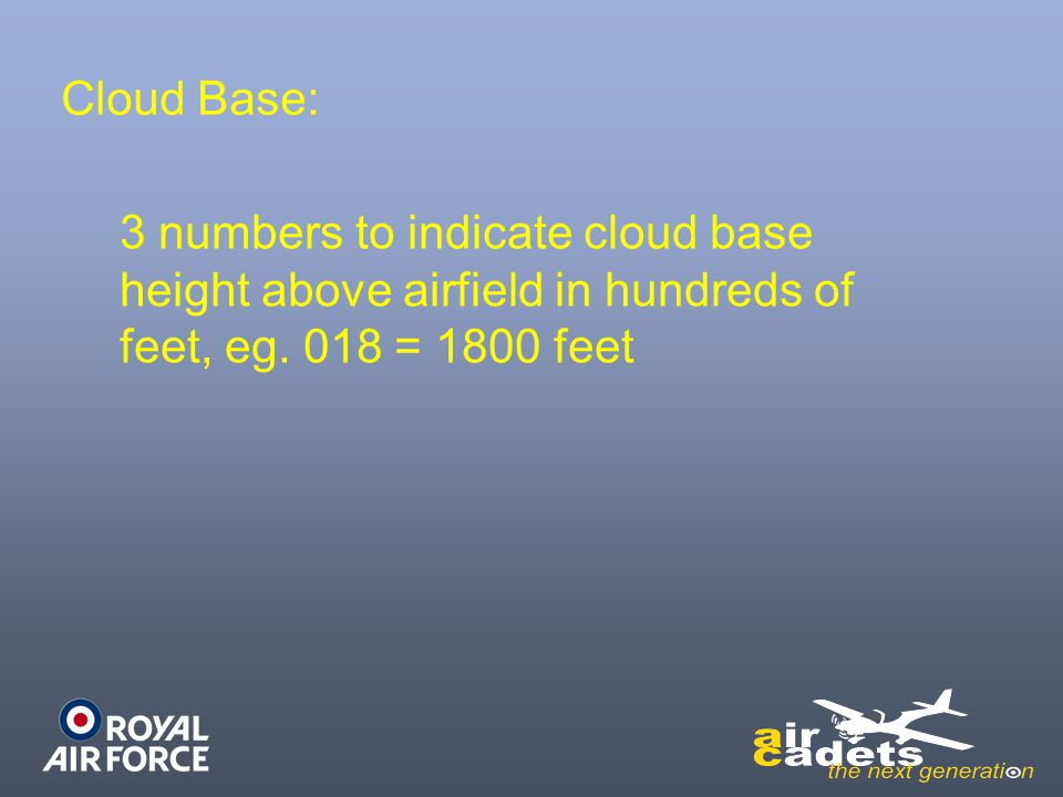 Cloud Base: 3 numbers to indicate cloud base height above airfield in hundreds of feet, eg.