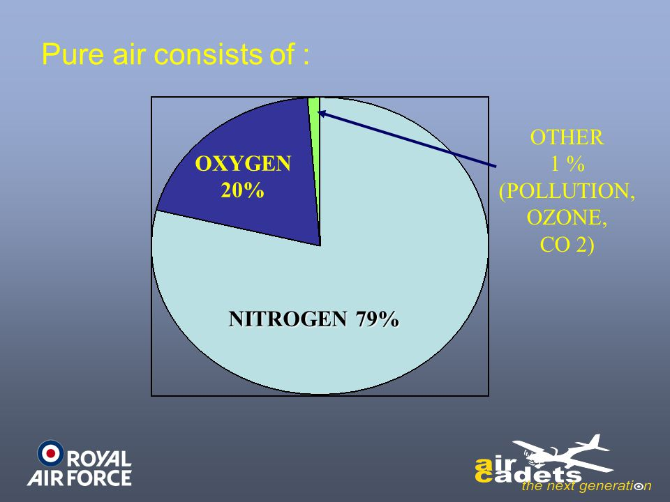 Pure air consists of : OTHER 1 % (POLLUTION, OZONE, CO 2) OXYGEN 20%