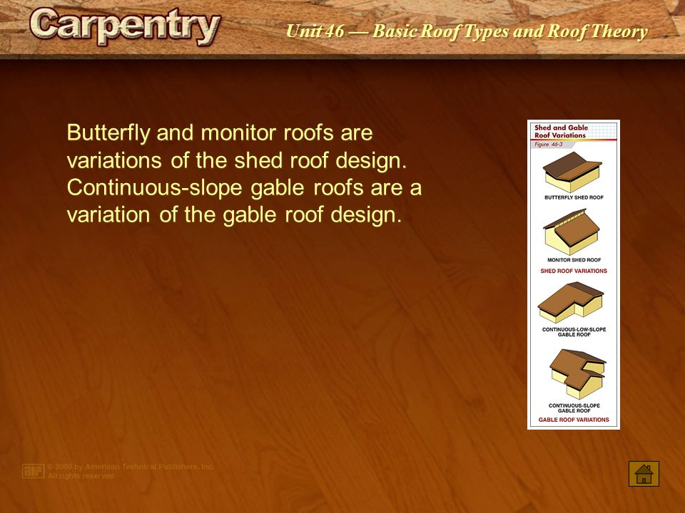 Butterfly and monitor roofs are variations of the shed roof design