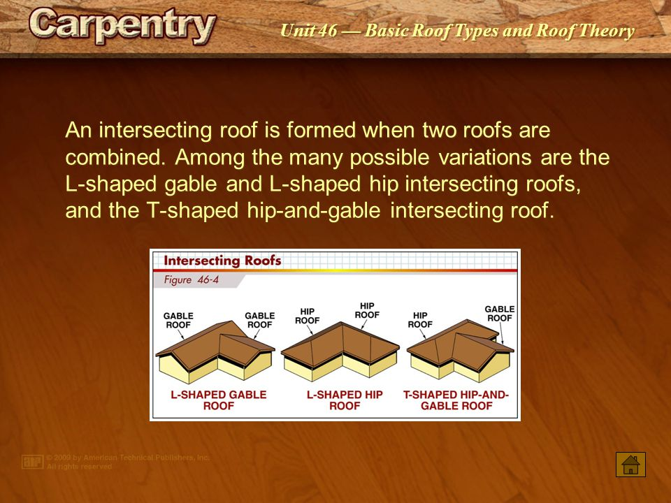 An intersecting roof is formed when two roofs are combined