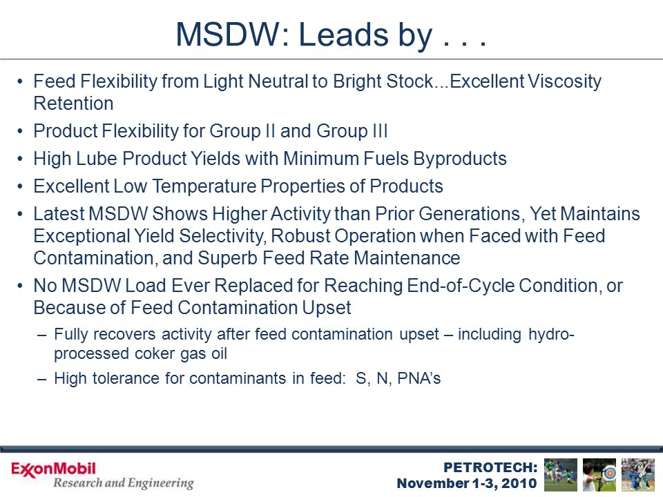 MSDW: Proven Catalyst Stability
